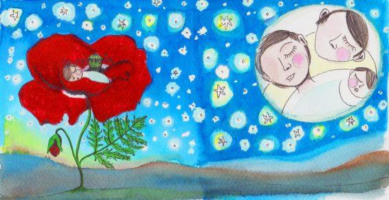 Acuarela y tinta sobre papel para disco Oarvulas-Nanas de Isamill-Laura-G-Becares-Las-Hidalgas
